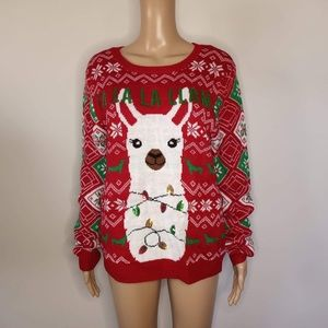 Llama Sequin Lights Ugly Holiday Sweater NEW